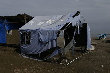 Una carpa de refugiados en La Chorrera. Foto: Desiree Yepez