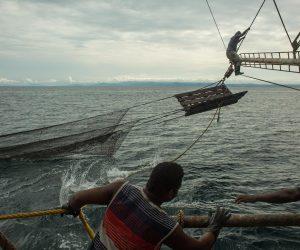 Un barco de pesca de arrastre recoge su carga de camarón despues de 9 horas de dejar las redes hundidas dentro del mar. La pesca industrial ha sido un problema para los pescadores artesanales que viven en el Pacifico Colombiano. Foto: Iván Castaneira