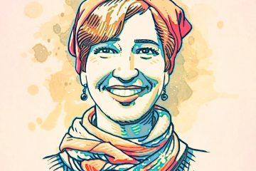 Nuriye Gülmen, activista. Ilustración de Tarik Tolunay