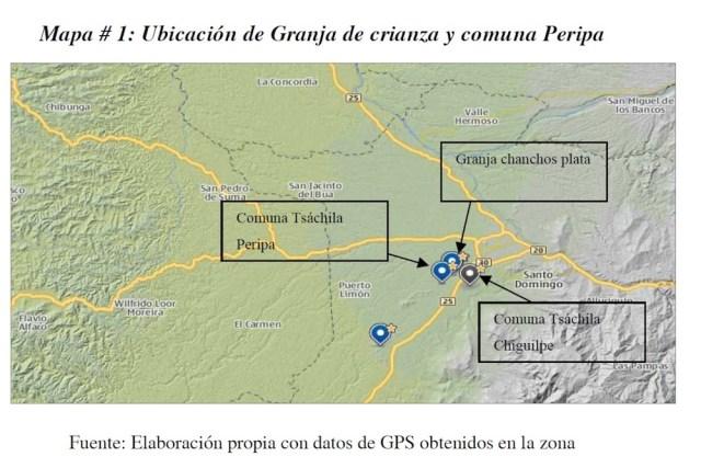 Xavier León (2012). Impactos económicos y sociales de la agroindustria de las aves y cerdos en las poblaciones rurales de Santo Domingo de los Tsáchilas. Datos obtenidos con GPS.