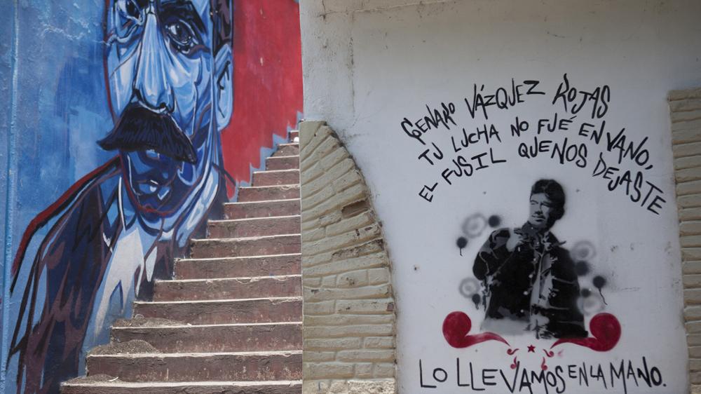 Los retratos de Zapata y Genaro Vázquez en la Normal. Foto: Alejandro Saldívar