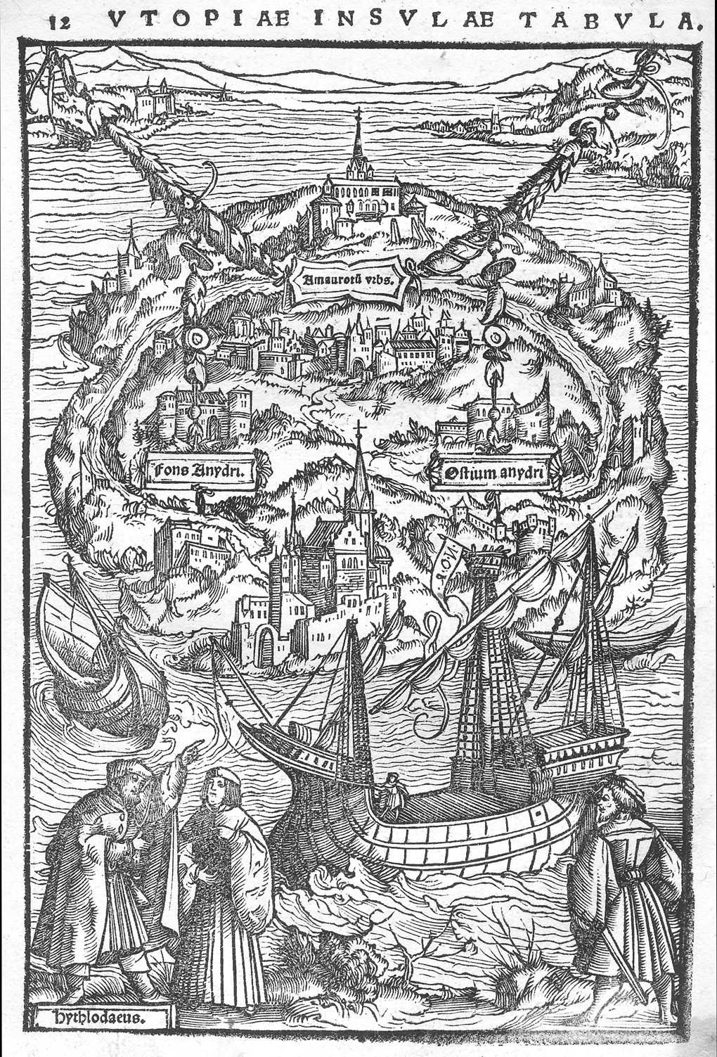 La isla de Utopía, grabado en madera atribuído a Hans Holbein, que ilustra la edición de la obra de Moro impresa en Basilea en 1518.