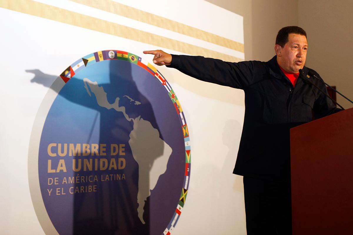 Hugo Chávez en la Cumbre de la Unidad Latinoamericana en la Riviera Maya en febrero de 2010. Foto: Eduardo Miranda