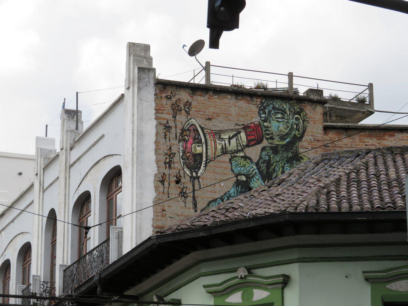 Mural en el centro histórico de Quito. Foto Mayuri Castro