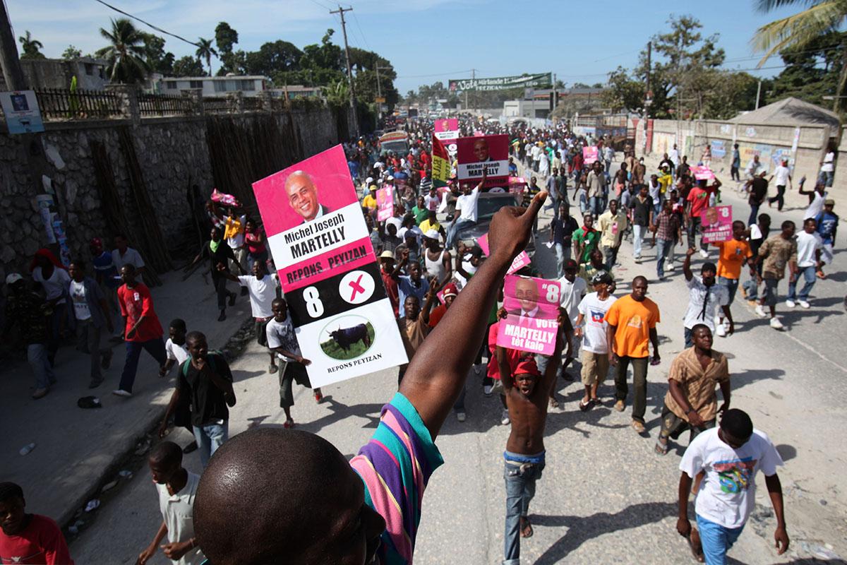 Simpatizantes de Martelly en Puerto Príncipe. Foto: Alejandro Saldívar